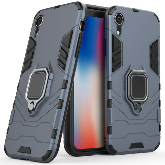 2 In 1 Soft TPU & Hard PC Back Magnetic Ring Armor Case For iPhone XR Shockproof Kickstand Cover For Apple iPhone XR 6.1 Inches