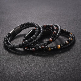 6MM Natural Stone Men Bracelet Black Genuine Leather Magnetic Buckle Bangle 18.5/20.5/22cm