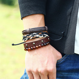 Punk Style Vintage Woven Four piece Rivet Leather Bracelet Student Men Handmade