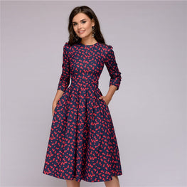 2018 Fall Casual Printing Party Dress Ladies Autumn Summer Vintage