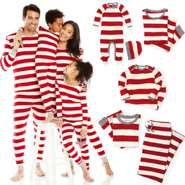Xmas Striped Family Matching Outfits Set Christmas Pajamas Set
