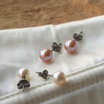 Pearl Titanium Earrings, Pearl Earrings cheap UK