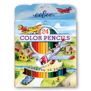 Red Airplane 24 Color Pencils Paper