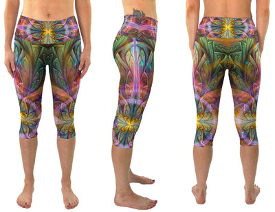 Gaiahuasca | Cropped | Leggings | Capri | Pants | Yoga | Workout | Gym | Festival | Rave | Outfit | Clothing | High Waisted | Fold Over | Ayahuasca