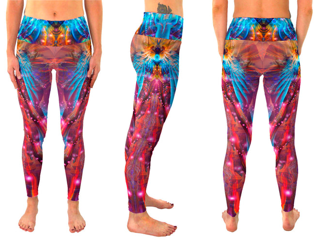 Phoenix Rising | Leggings | Pants | Yoga | Workout | Gym | Festival | Rave | Outfit | Clothing | High Waisted | Fold Over | Aesthetic | Eco