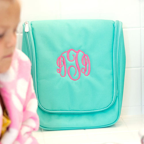 Mint Hanging Travel Case ~ Monogrammed toiletry case - Blush & Company Designs
