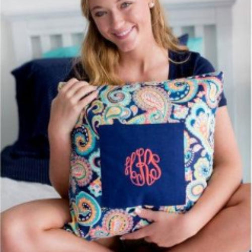 Personalized throw pillow ~ Dorm room Monogrammed pillow ~ porch monogrammed pillow - Blush & Company Designs