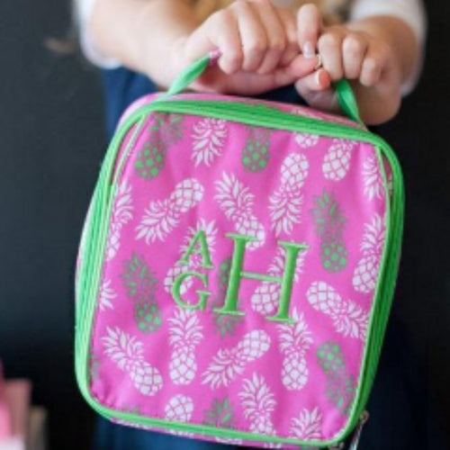 Monogrammed Lunch Box ~ Pineapple Lunch box ~ Custom Girls lunch box - Blush & Company Designs
