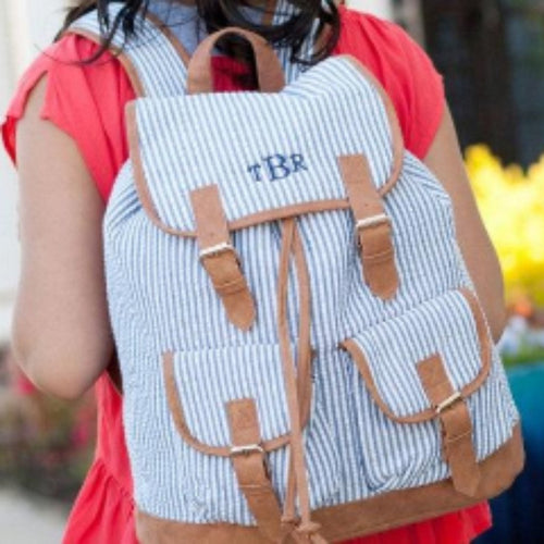 Monogrammed Seersucker Campus Backpack ~ Monogrammed girls backpack ~ Back to school backpack - Blush & Company Designs