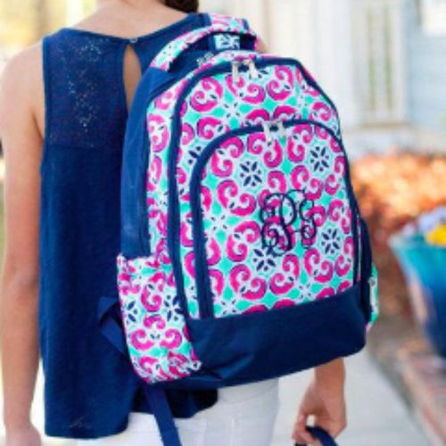 Monogrammed Mia Tile Backpack ~ Monogrammed girls backpack ~ Back to school backpack - Blush & Company Designs