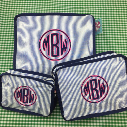 Monogrammed Seersucker Stacking Set by Mint®~ Stackable packing cubes - Blush & Company Designs