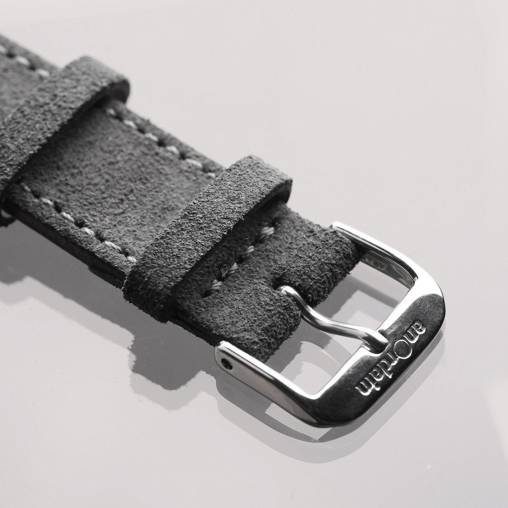 Detail of grey suede strap