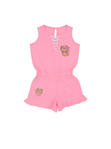 Girls Cotton Candy Lace-Up Jersey Romper