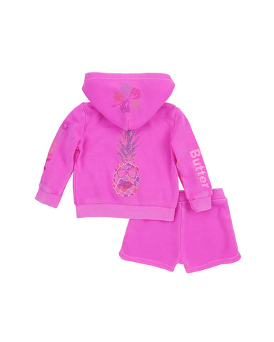 Girls Paradise Pink Pineapple Fleece Zip Hoodie Set