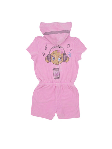 Girls Pastel Lavender Emoji Headphones Mineral Wash Terry Romper