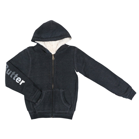 Womens Black / Black Burnout Reversible Plush Hoodie