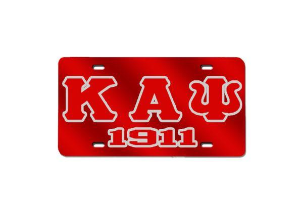 Kappa Alpha Psi Greek Letter - 1911 w/ Outline License Plate (Red or Silver)