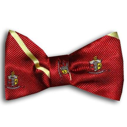 Kappa Alpha Psi Striped Coat of Arms Bow Tie (Krimson)