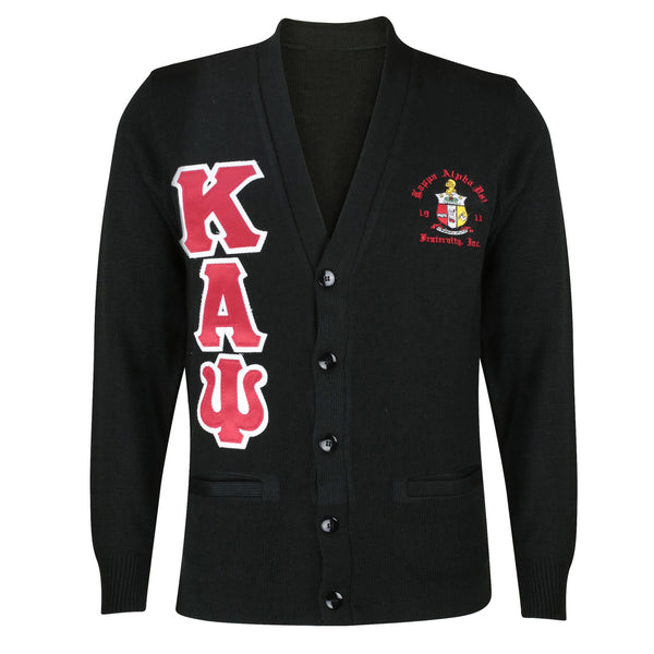 Kappa Alpha Psi Greek Letter Cardigan Sweater (Black)