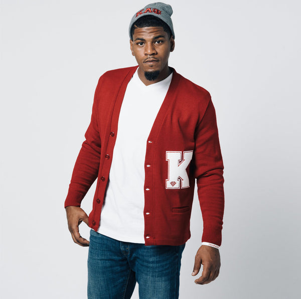 Kappa Alpha Psi K Cardigan Sweater (Red)