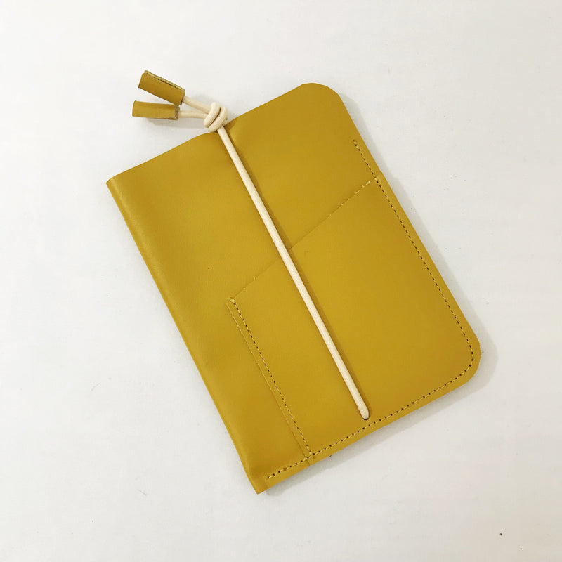 Leather Passport Cover Mustard