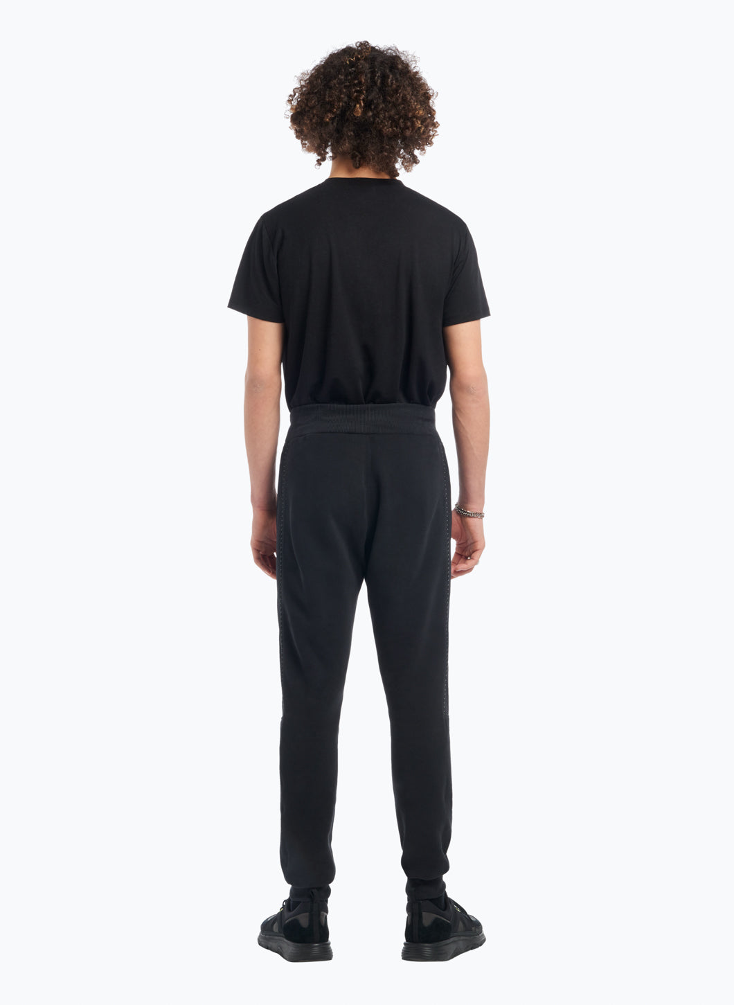 Jogging Pants with Side Cutouts in Black Fleece with Black Trim