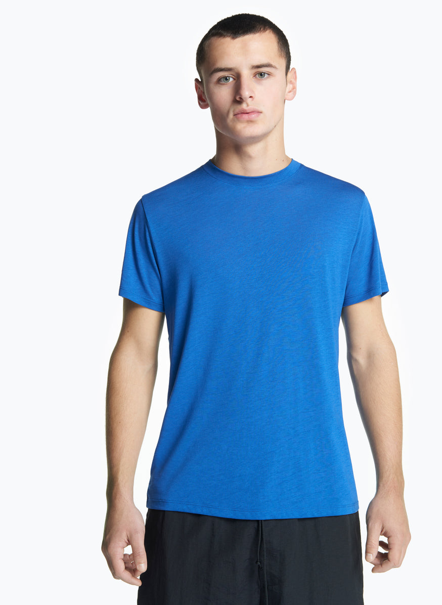 Short Sleeve Crew Neck T-Shirt in Royal Blue Tencel