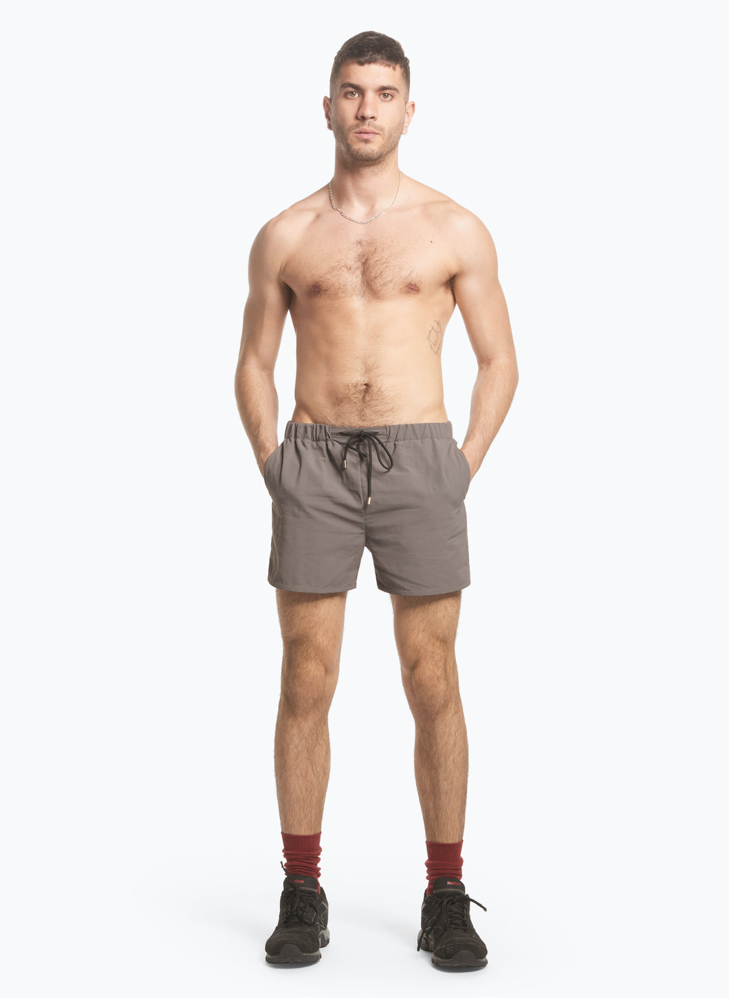 Swim Shorts with Italian Pockets in Taupe Ripstop