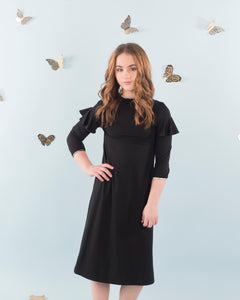 Black Ruffle Sleeve Trim Dress