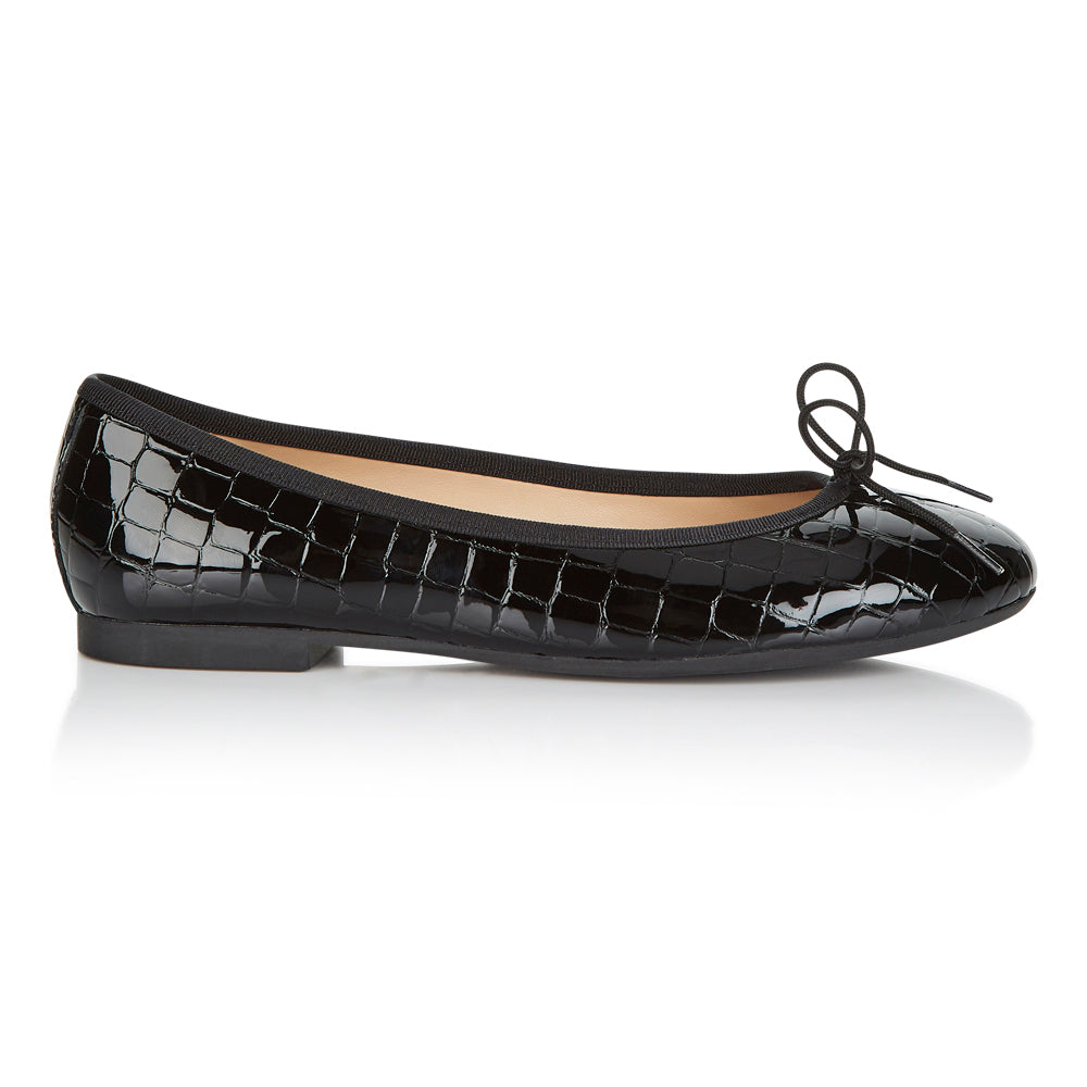French Sole - Amelie Croc Patent Black PRE-ORDER