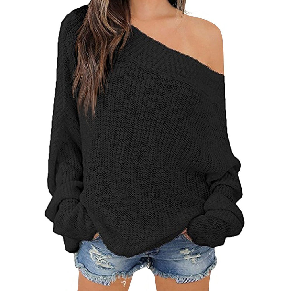 Off Shoulder Batwing Sleeve Loose Oversized Pullover Sweater Knit Jumper