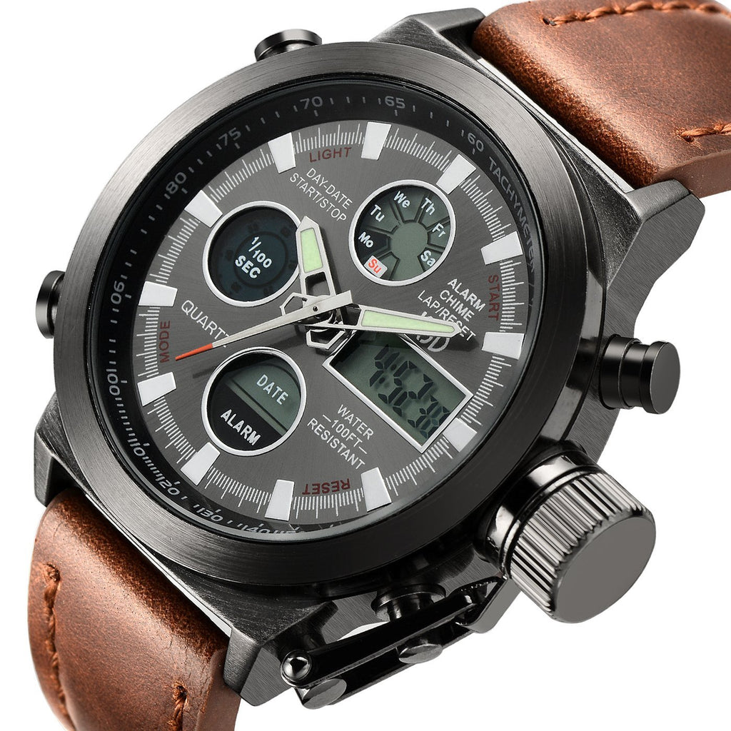 Brown Leather Men's Military Watch Waterproof Analog Digital Sports Watches for Men
