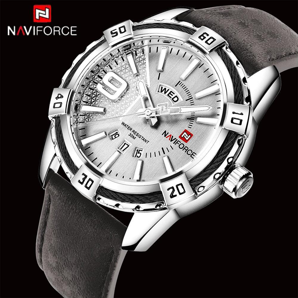NAVIFORCE Leather Strap Business Quartz Watch