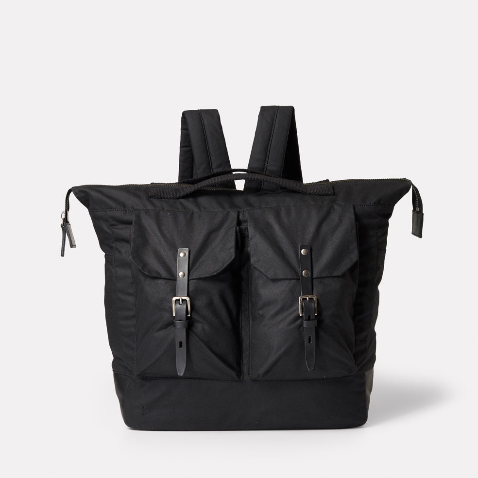 Frank Large Waxed Cotton Rucksack in Black