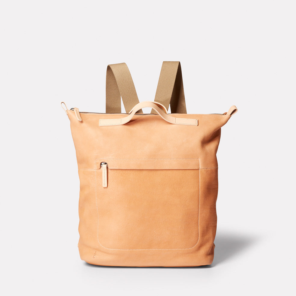 Hoy Mini Leather Backpack in Light Tan