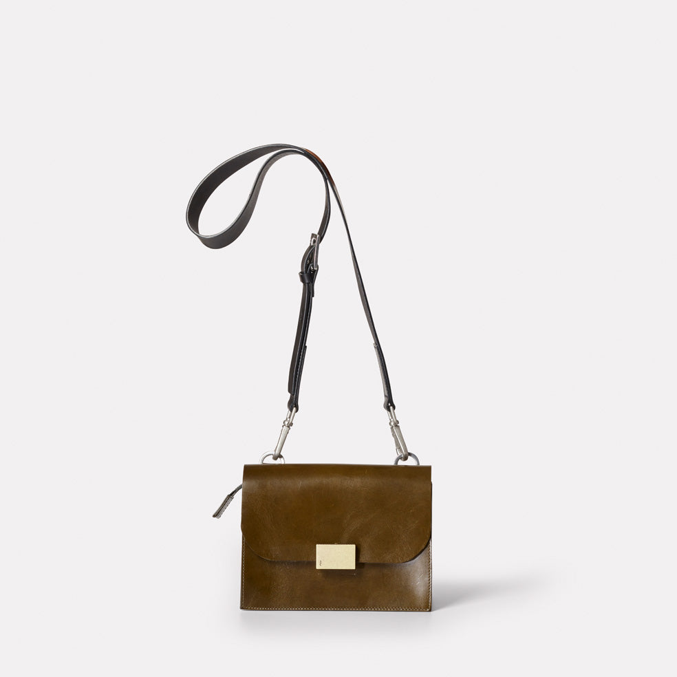 Lockie Crossbody Leather Bag in Olive