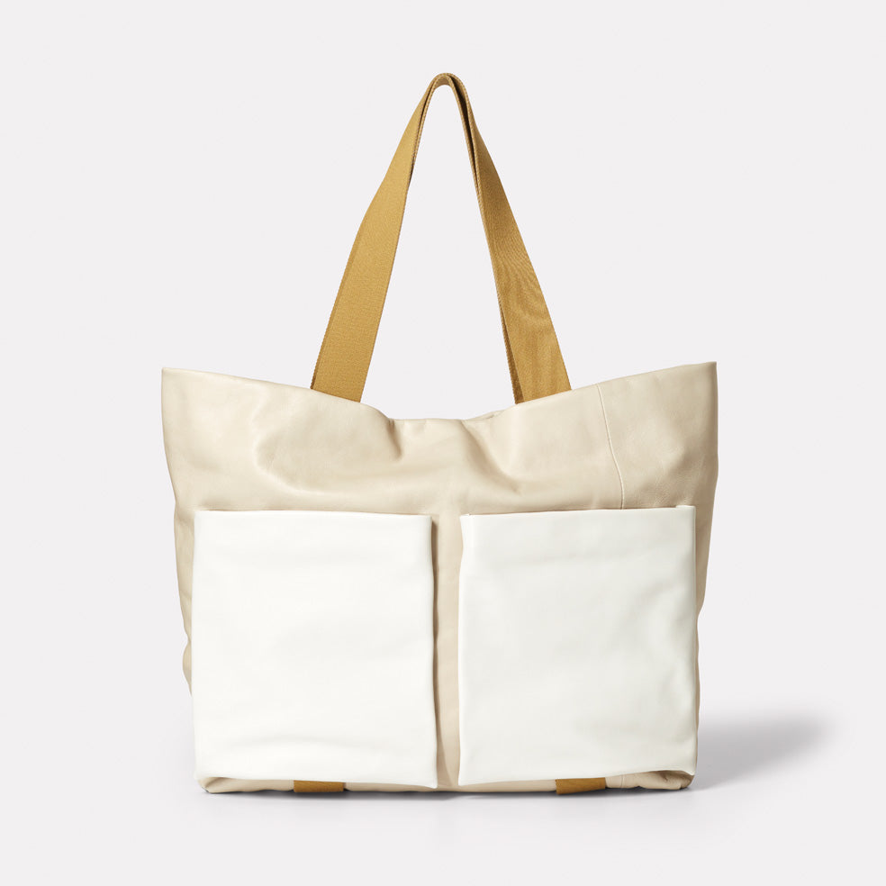 Toto Camlet Leather Tote Bag in Stone