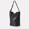 Roz Vegetable Tanned Leather Bucket Bag in Black for Women