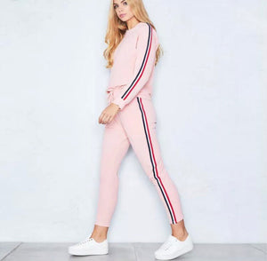 Three Striped Crop Top Hooded Tracksuit