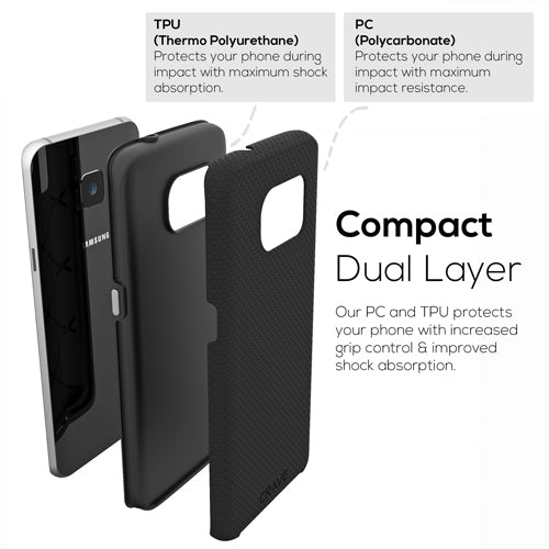 Black Samsung Galaxy S7 Edge Case Thin Dual Guard Cover by Crave var-8116733739121