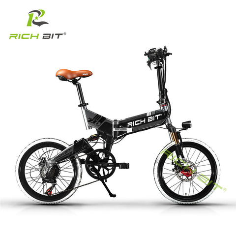 RichBit Mtb ebike 48V 8AH Hidden Battery Folding Electric Bike 7 Speeds USB Cell Phone Re charger Holder