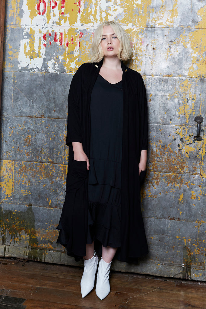 Shegul Alena Duster Black plus size coverstorynyc