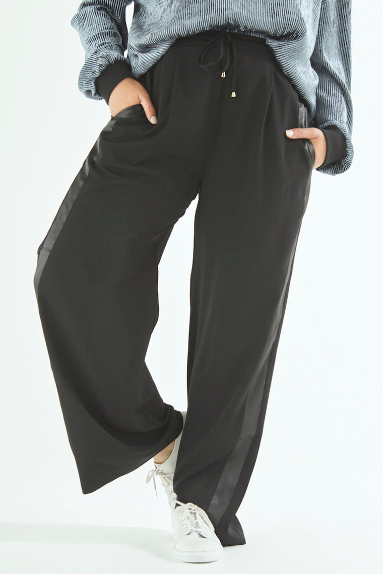 Elvi Wide Leg Side Stripe Pants