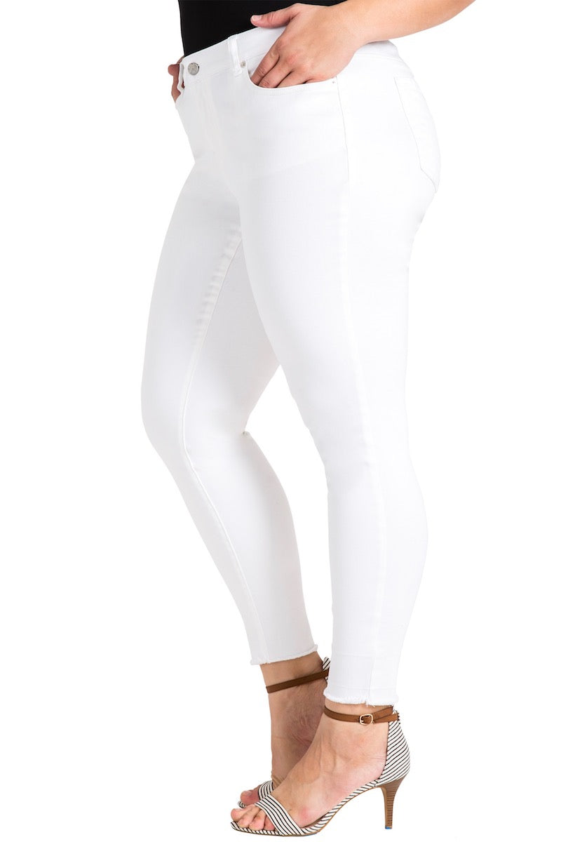 Standard & Practices Virginia Released Hem Skinny Plus size jeans White
