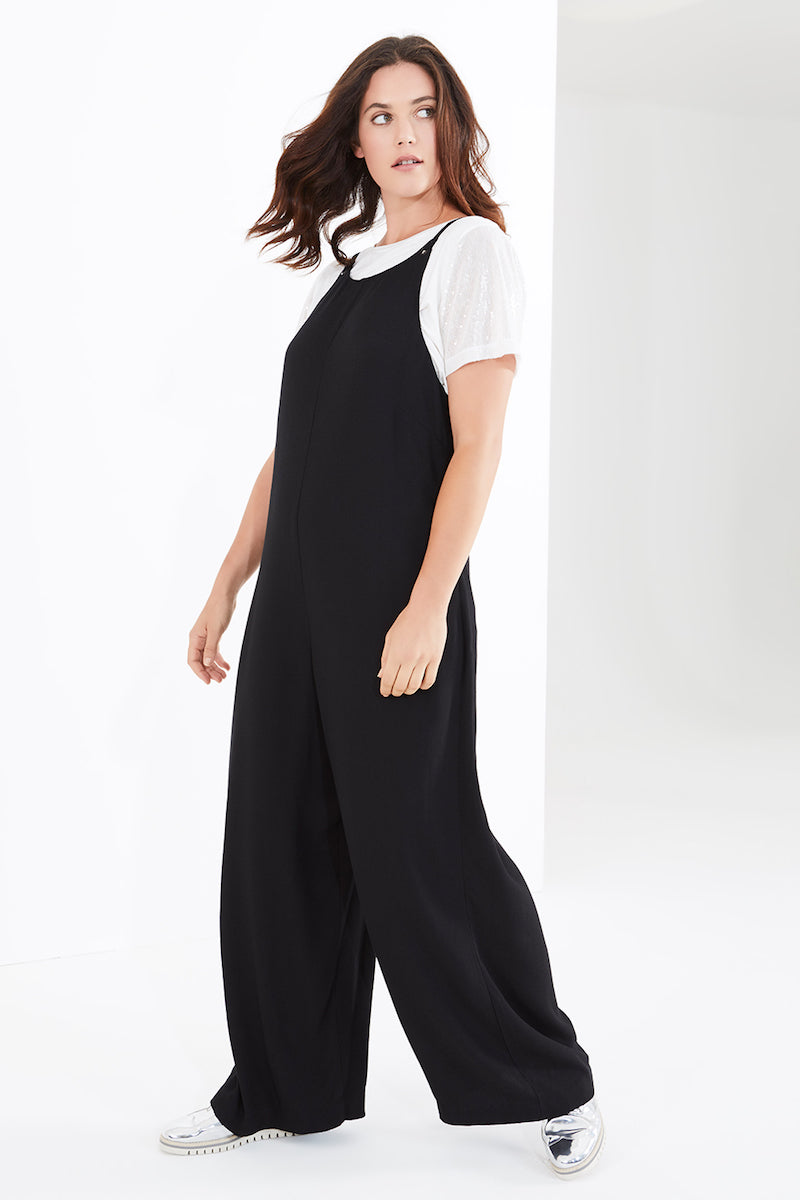 Elvi wide leg jumpsuit plus size black coverstorynyc