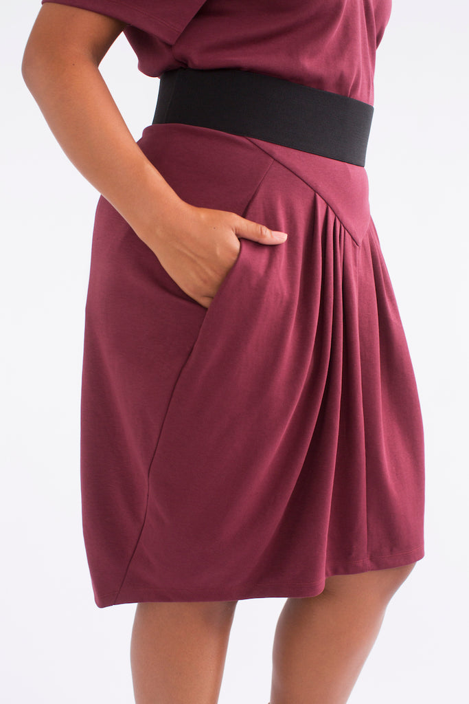 See Rose Go Pleated Skirt Burgundy plus size
