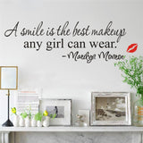 Smile Is The Best Makeup Quote Wall Stickers Girl Home Decor