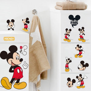 Hot Sale Mickey Mouse Minnie Mouse Bathroom Decoration Cartoon Cute Glass Wall Stickers For Kids Rooms Home Decor Free Shipping