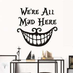 Christmas Decor wall Stickers Decals We are All Mad Here Vinyl Quote