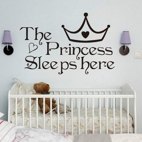 The Princess Sleep Here Wall Stickers For Kids Rooms Bedroom Quote